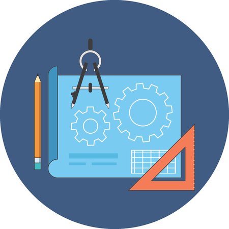 symbol icon: Project development concept. Flat design. Icon in blue circle on white background Illustration