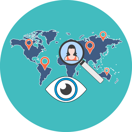 searching: Person search concept. Flat design. Icon in turquoise circle on white background