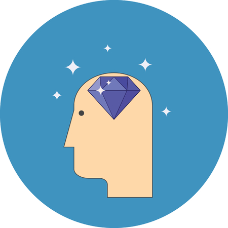 competence: Efficiency of competence concept. Flat design. Icon in blue circle on white background Illustration