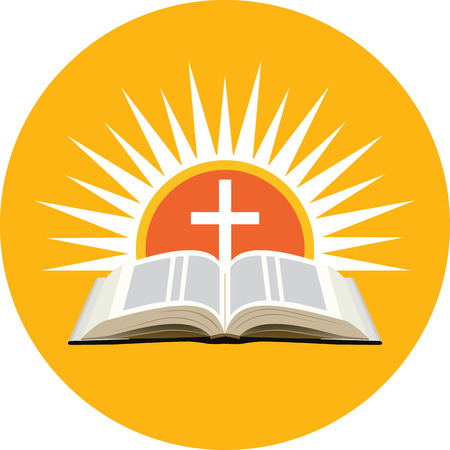 Bible, sunset and cross. Church logo concept. Icon in orange circle on white background Illustration