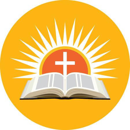 Bijbel, zonsondergang en kruis. Kerk logo concept. Pictogram in oranje cirkel op een witte achtergrond