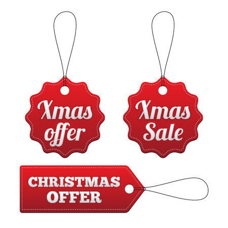 stitched: Christmas offer red stitched tags set.  Illustration