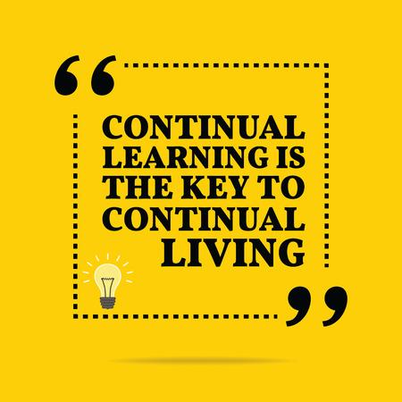 Cita de motivación inspiradora. El aprendizaje continuo es la clave para una vida continua. diseño de moda simple. Foto de archivo - 49779516