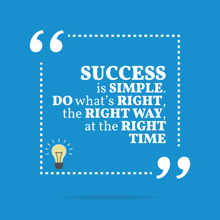 right of way: Inspirational motivational quote. Success is simple. Do whats right, the right way, at the right time. Simple trendy design.