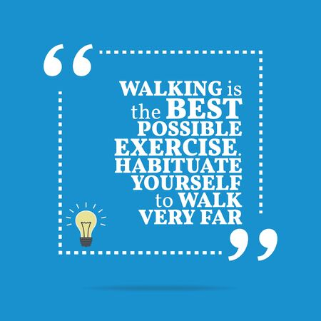possible: Inspirational motivational quote. Walking is the best possible exercise. Habituate yourself to walk very far. Simple trendy design.