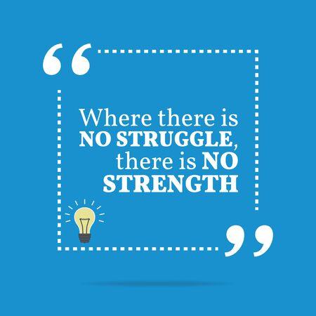 struggle: Inspirational motivational quote. Where there is no struggle, there is no strength. Simple trendy design.