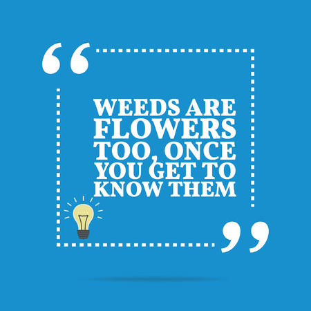 weeds: Inspirational motivational quote. Weeds are flowers too, once you get to know them. Simple trendy design.