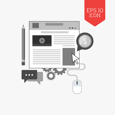 managing: Blog icon.  Managing website concept. Flat design gray color symbol. Modern UI web navigation, sign. Illustration element