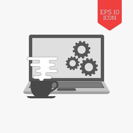 freelance: Coffee cup and laptop icon. Freelance concept. Flat design gray color symbol. Modern UI web navigation, sign. Illustration element Illustration
