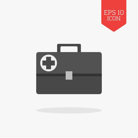 navigation aid: Medical briefcase, first aid kit icon. Flat design gray color symbol. Modern UI web navigation, sign. Illustration element