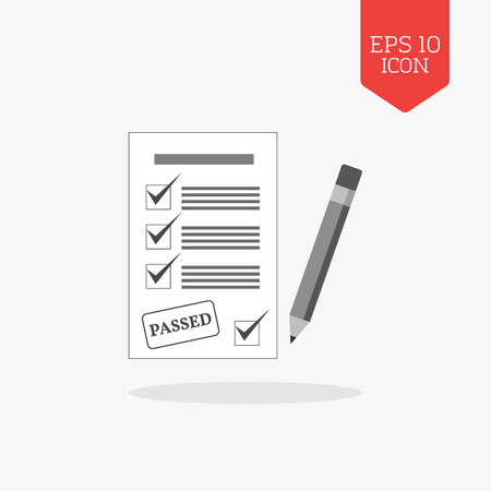 passed: Test passed concept icon. Flat design gray color symbol. Illustration element