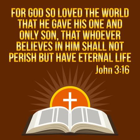 Christian motivierend Zitat. Bibel Vers. Kreuz und strahlende Sonne - Auferstehung Konzept, Symbole. Goldene Text über braunen Hintergrund Illustration