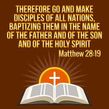 Christian motivational quote. Bible verse. Cross and shining sun - resurrection concept, symbols. Golden text over maroon background