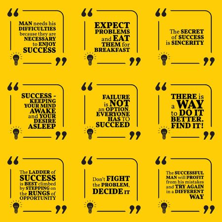 difficulties: Set of motivational quotes about achievement, success, sincerity, difficulties and opportunity. Simple note design typography poster. Vector illustration