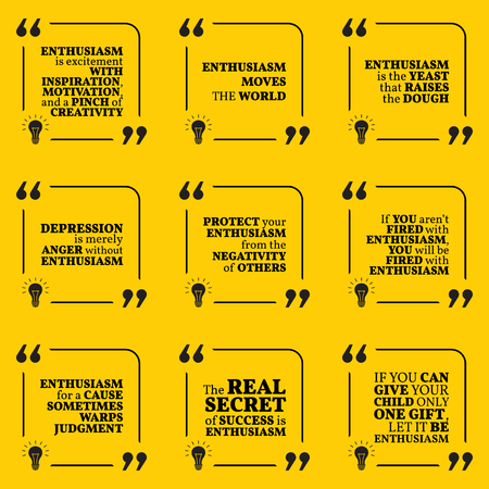 enthusiasm: Set of motivational quotes about enthusiasm, positive thinking, optimism, depression, happiness and success. Simple note design typography poster. Vector illustration Illustration