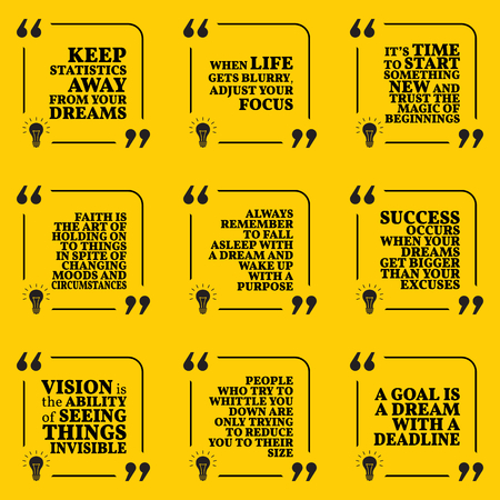 new beginning: Set of motivational quotes about statistics, dreams, focus, new beginning, faith, purpose, success, vision and deadline. Simple note design typography poster. Vector illustration Illustration