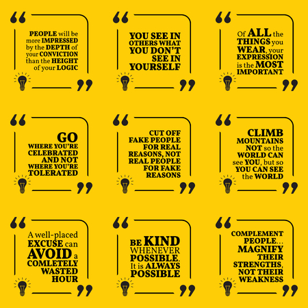 conviction: Set of motivational quotes about conviction, expression, tolerance, reasons, excuse, kindness and complement. Simple note design typography poster. Vector illustration Illustration