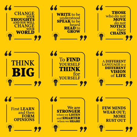 optimism: Set of motivational quotes about learning, thinking, optimism, finding yourself, vision, freedom and personal development. Simple note design typography poster. Vector illustration Illustration