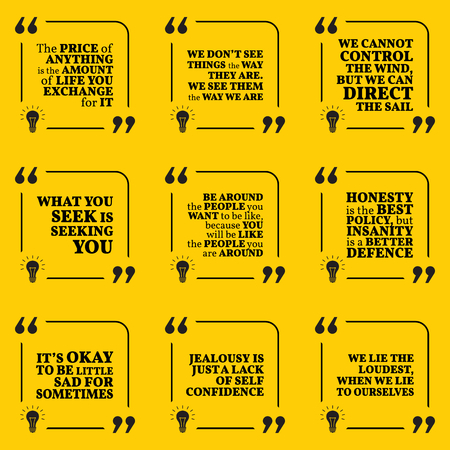 to lie: Set of motivational quotes about price, vision, search, honesty, insanity, sadness, jealousy and lie. Simple note design typography poster. Vector illustration Illustration