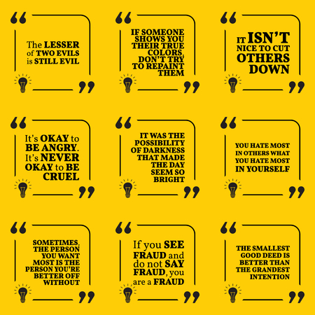 deed: Set of motivational warning quotes about evil, darkness, hate, fraud and good deed. Simple note design typography poster. Vector illustration Illustration