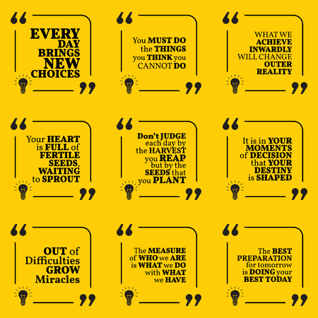destiny: Set of motivational quotes about action, goals, achievement, success, destiny, reality, choice and difficulties. Simple note design typography poster. Vector illustration
