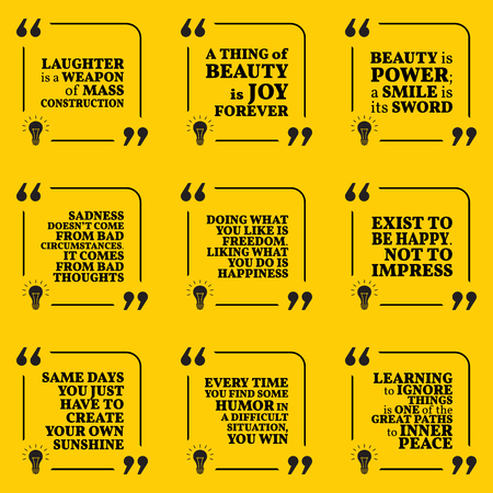 optimism: Set of motivational quotes about optimism, beauty, sadness, happiness, joy, laugh, freedom, humor, peace and good mood. Simple note design typography poster. Vector illustration Illustration
