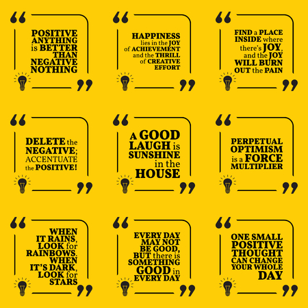 optimism: Set of motivational quotes about positive thinking, optimism, happiness, joy, laugh and good mood. Simple note design typography poster. Vector illustration