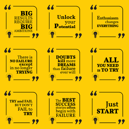 enthusiasm: Set of motivational quotes about potential, optimism, doubts, enthusiasm, action, success and dreams. Simple note design typography poster. Vector illustration