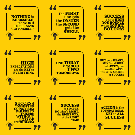 enthusiasm: Set of motivational quotes about action, goals, achievement, success and enthusiasm. Simple note design typography poster. Vector illustration