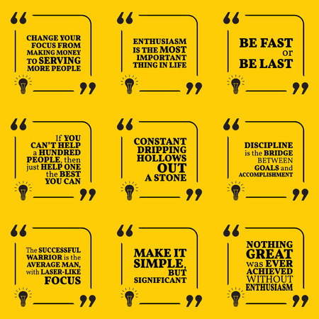 enthusiasm: Set of motivational quotes about serving, enthusiasm, action, helping, discipline and success. Simple note design typography poster. Vector illustration Illustration