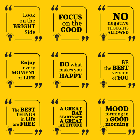 optimism: Set of motivational quotes about positive thinking, optimism, happiness and good mood. Simple note design typography poster. Vector illustration