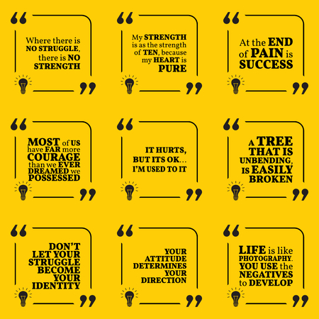 struggle: Set of motivational quotes about struggle, strength, courage, pain, identity, achievement, success, attitude and strong spirit. Simple note design typography poster. Vector illustration
