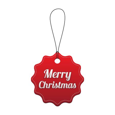 Merry Christmas. Red stitched tag. Vector illustration