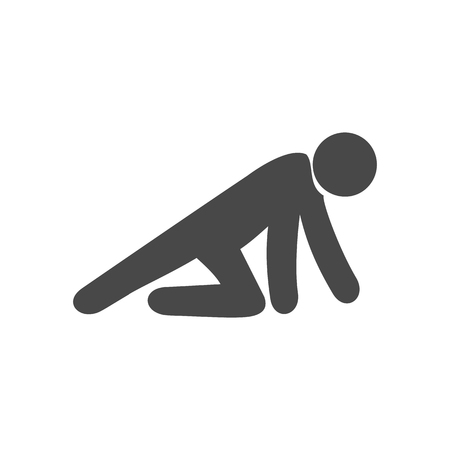 Crawling man icon. Symbol in trendy flat style isolated on white background. Illustration element for your web site design, logo, app, UI.