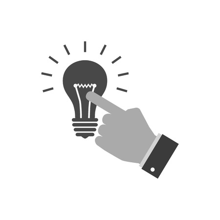 Hand touching light bulb icon, reach the idea concept. Symbol in trendy flat style isolated on white background. Illustration element for your web site design, logo, app, UI.