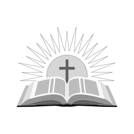 Open bible with sun and cross icon.   Symbol in trendy flat style isolated on white background.