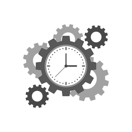 Clock with cogwheels icon. Time management concept. Symbol in trendy flat style isolated on white background.