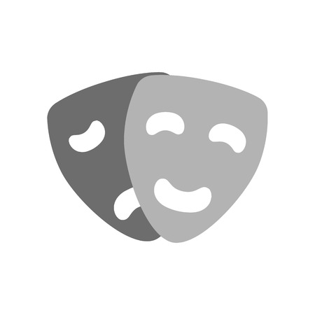 comedy: Comedy and tragedy masks icon. Theatre concept. Symbol in trendy flat style isolated on white background. Illustration element for your web site design, logo, app, UI.