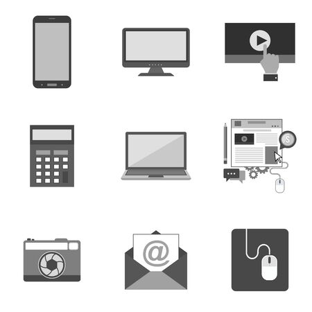 Set of icons and symbols in trendy flat style isolated on white background. Vector illustration elements for your web site design, logo, app, UI.