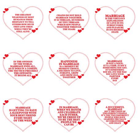 Insieme di citazioni su amore e matrimonio su sfondo bianco. Design semplice a forma di cuore. Illustrazione vettoriale