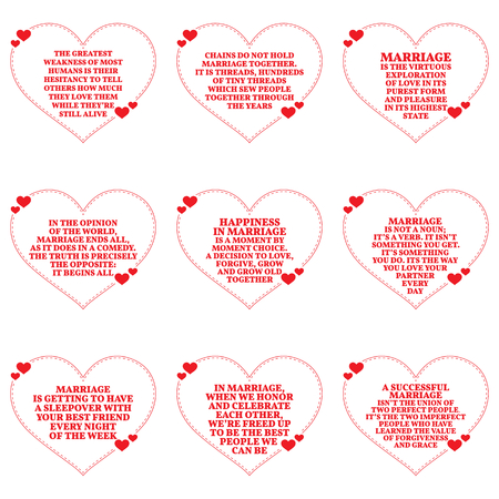 Set of quotes about love and marriage over white background. Simple heart shape design. Vector illustration Illustration