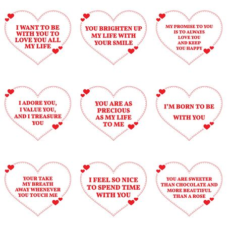 adoring: Set of love wishes quotes over white background. Simple heart shape design. Vector illustration Illustration