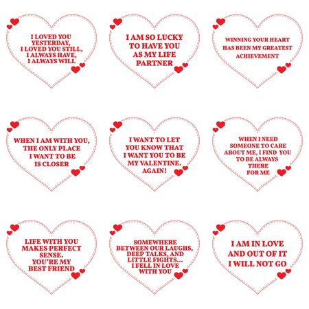 Set of love wishes quotes over white background. Simple heart shape design. Vector illustration Illustration