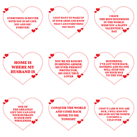 Set of love wishes quotes over white background. Simple heart shape design. Vector illustration 일러스트