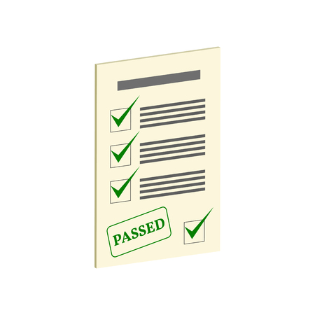 Exam Pass symbol. Flat Isometric Icon or Logo. 3D Style Pictogram for Web Design, UI, Mobile App, Infographic. Vector Illustration on white background.