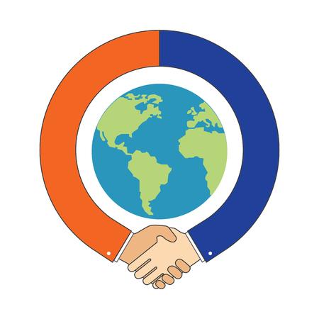 Handshake around Globe, International Partnership symbol. Vector Illustration