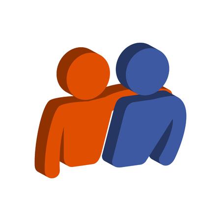 Friends, Friendship symbol. Flat Isometric Icon or Logo. 3D Style Pictogram for Web Design, UI, Mobile App, Infographic. Vector Illustration on white background. Illustration