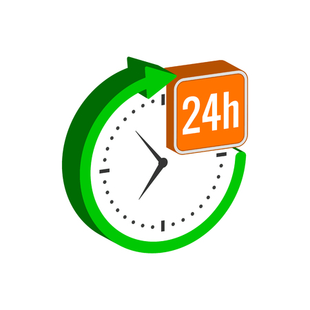 24 hours service symbol. Flat Isometric Icon or Logo. 3D Style Pictogram for Web Design, UI, Mobile App, Infographic. Vector Illustration on white background. Çizim
