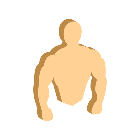 Muscle body, Bodybuilding, Fitness symbol. Flat Isometric Icon or Logo. 3D Style Pictogram for Web Design, UI, Mobile App, Infographic. Vector Illustration on white background. Illustration
