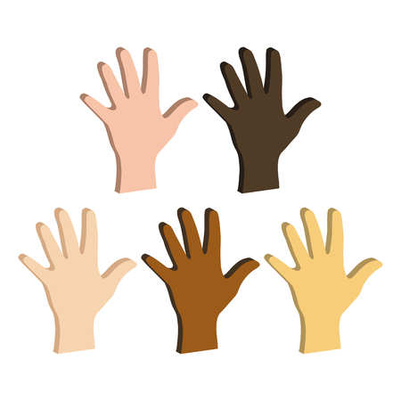 Different Color Hands, Ethnicity Hands symbol. Flat Isometric Icon or Logo. 3D Style Pictogram for Web Design, UI, Mobile App, Infographic. Vector Illustration on white background.